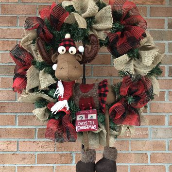Rustic MOOSE Christmas Mesh Outdoor Front Door Wreath; Door Hanger, Wall Decor