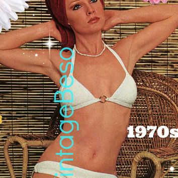 DIGITAL Pattern • Splash Bikini CROCHET PAtTERN • SIMPLE To Make Day Before Beach Party • PdF Pattern • Sexy Bathing Suit • Vintage 1970s