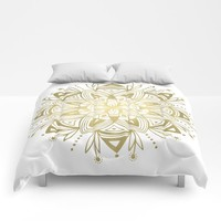 Mandala - Gold Comforters by Heather Dutton