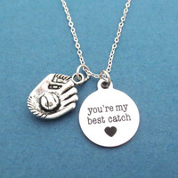 Baseball, Glove, you're my best catch, Heart, Necklace, Love, Lover, Best friend, Friendship, Birthday, Valetine's day, Gift, Jewelry