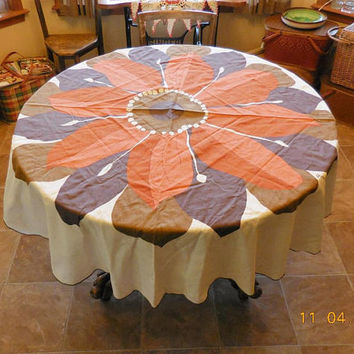 Vintage Vera Round Tablecloth in Fall Colors