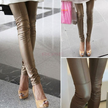 New Women's Sexy PU Leather Ankle-Length Footless Shiny Leggings Pants Tights 18902 Trousers One size (Color: Khaki) = 1651188228