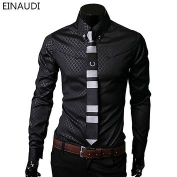 Men Plaid Shirts New Men Dress Shirts Long Sleeve Slim Casual Black White Social Male Clothes Chemise