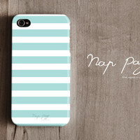 Apple iphone case for iphone iphone 3Gs iphone 4 iphone 4s iPhone 5 : Soft blue sea foam color line with white