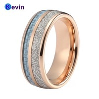 Rose Gold Wedding Band Tungsten Wedding Rings For Men And Women With Light Blue Carbon Fiber And White Meteorite Inlay