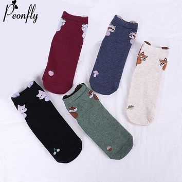 PEONFLY Fashion Printing Cute Cartoon Animals Raccoon Bear Pattern Woman Short Socks 2018 Winter Casual Comfortable Cotton Socks