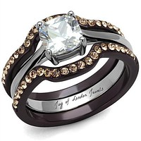 1CT Cushion Cut Russian Lab Diamond Chocolate Gold Wedding Band Ring