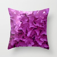 through the purple hydrangea Throw Pillow by clemm