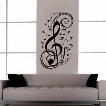 Music Notes Clef Living Room Inspirational Music Decal Vinyl Sticker tr780
