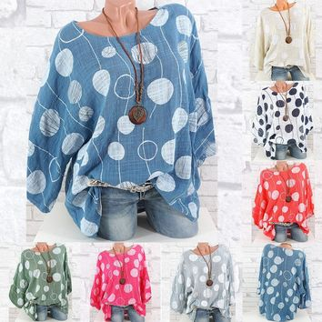 Women's Spring O-Neck Loose Fit Polka Dot Top