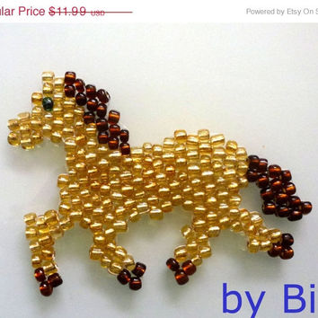 ON SALE Beadwork Brown Horse Patch Beaded Decorative Brown Horse Applique Chinese Year 2014 Glass Bead Luck Beautiful
