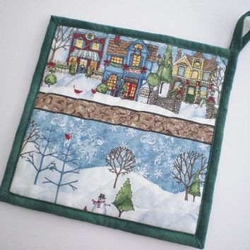 Quilted Hot Pad Handmade Pot Holder Holiday Coaster or Trivet Country Village Winter Scene  Kitchen Accent Basket Filler