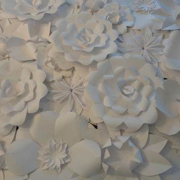 White Paper Flower Wall 4ft x 8ft   Extra Large by PoshStudios