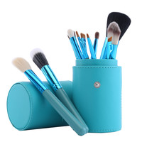 12 pcs Make up Brushes Professional Beauty Makeup Brush Set  Contour Blusher Powder Liquid Foundation Brush + PU Brush Cup
