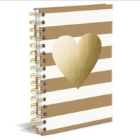 Kraft Heart Hard Cover Writing Journal. 160 Ruled Pages.