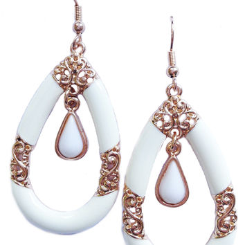 White Baroque Earrings