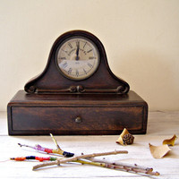 Vintage Wood Clock Fireplace Brown antique look clock by MeshuMaSH