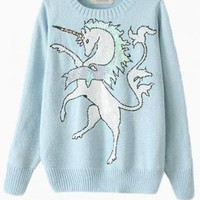 Blue Sequin Unicorn Printed Knit Sweater