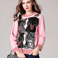 """""""Gucci"""" Women Flower Tiger Head Embroidery Knit O-Neck Long Sleeve Sweater"""