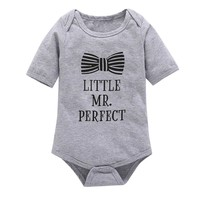 'Little Mr. Perfect' Gray Cotton One Piece