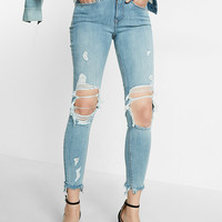 Mid Rise Distressed Frayed Stretch Ankle Jean Leggings