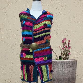 Gilet , Waist coat , Textured Clothing , Wearable art , Chunky Knit , Ladies winter Tank , OOAK tank top , Boho , Hippie style.