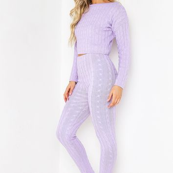 DUSKY LILAC CABLE KNIT LEGGING CO-ORD SET