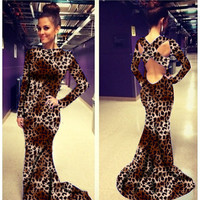 Long Sleeve Leopard Print Cross Back Mermaid Dress