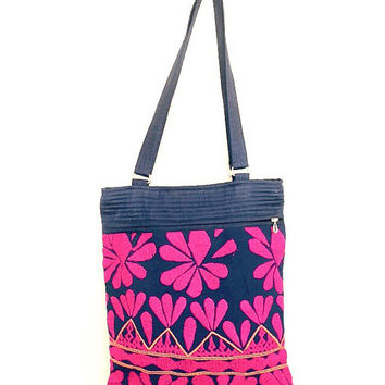 PINK BLUE Hippie Style Embroidered quilted TOTE Bag, handmade banjara tote bags,Tribal, Boho, floral, Ethnic, fabric bag India, Indian bag