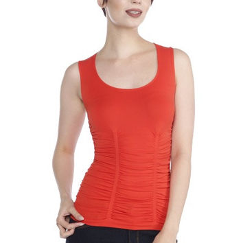 LAST TANGO Rouched Scoop Neck Tank -Tangerine