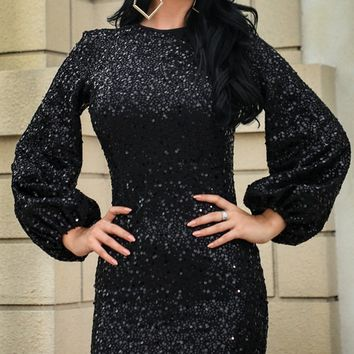 Everyone's Dream Black Sequin Long Lantern Sleeve Round Neck Bodycon Mini Dress - 2 Colors Available
