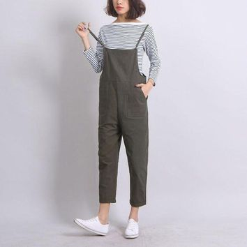 Ankle Length Women Loose Suspender Trousers Solid Color Casual High Waist Overalls Autumn Summer Jumpsuits Female Long Pants