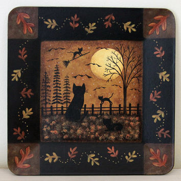 Folk Art Halloween Wooden Plate - MADE TO ORDER - Hand painted Primitive Square Wood Plate Black Cats Full Moon, Fall Leaves