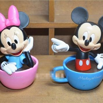 8CM Cute Mickey Minnie Mouse Stay in Cup PVC Action Figures Toy Doll Model Collections Toy