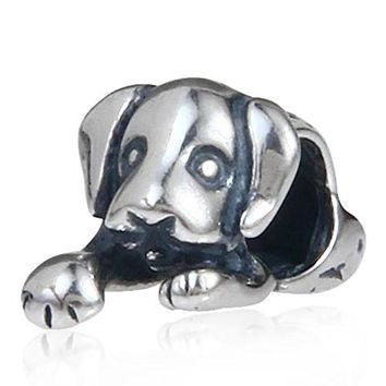 Sleepy Cute House Puppy Dog Animal 925 Sterling Silver Bead Fit Pandora Charms