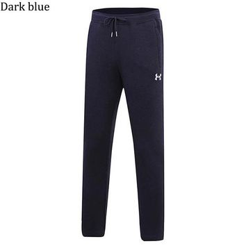 Under Armour winter sports men's plus velvet thick straight straight loose pants dark blue