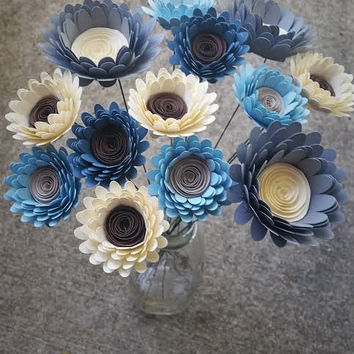 Paper Flower Bouquet - Blue, Ivory and Gray Large and Small Daisies Bouquet - Perfect for Weddings, Mother's Day, Bridal Bouquets