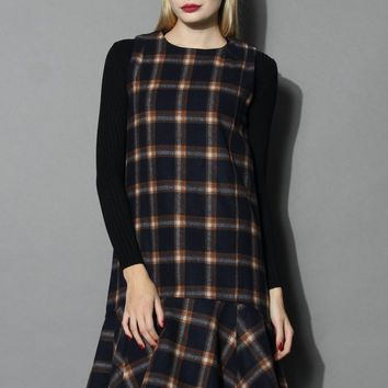Adore Plaid Peplum Shift Dress