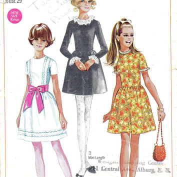 1960s Mod Retro Girls Party Dress Bell Skirt Ruffle Collar Simplicity Sewing Pattern 7732
