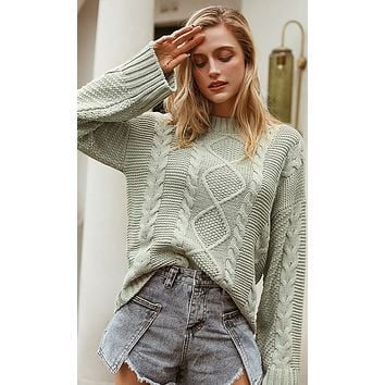Make The Grade Long Sleeve Crew Neck Cable Knit Chunky Pullover Sweater - 2 Colors Available