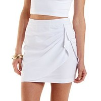 White Ruched & Draped Wrap Skirt by Charlotte Russe