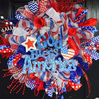 4th if July Wreath, God bless America deco mesh wreath, Fourth of July mesh wreath, 4th of July deco mesh wreaths, Memorial day mesh wreath,