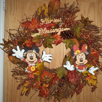 Mickey & Minnie Mouse as Scarecrows Harvest Blessings / Autumn Fall Wreath