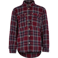 River Island Girls dark red check shirt