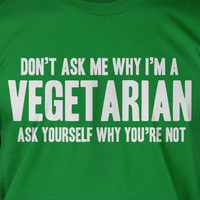 Vegetarian Vegan Green Organic Food Tshirt T-Shirt Tee Shirt Mens Womens Ladies Youth Kids Geek Funny