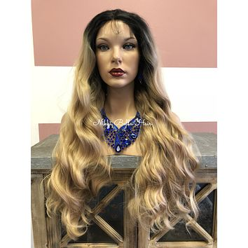 Brown Ombre' Long Wavy Swiss lace front wig | Large Waves |True Connection|  51828