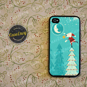 Santa Claus Reaching For The Moon Phone Case! Choose iPhone 4 / 4s / 5 / 5s or Galaxy S3 / S4