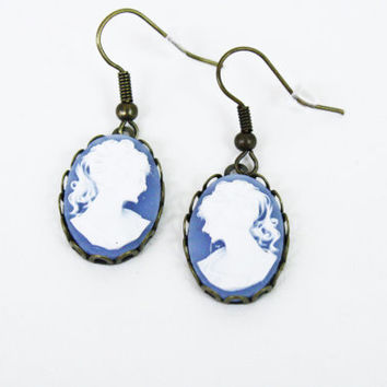 Blue Cameo Earrings