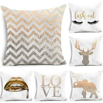Fashion Gold Shining Print Polyester Throw Pillow Case Sofa Cushion Cover Home Room Decor