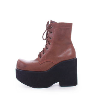 90s Vintage Platform Boots Brown Vegan Leather Super Chunky Foam Club Kid Rave Tall Stacked Ankle Booties Womens Size US 8 UK 6 EUR 38 39
